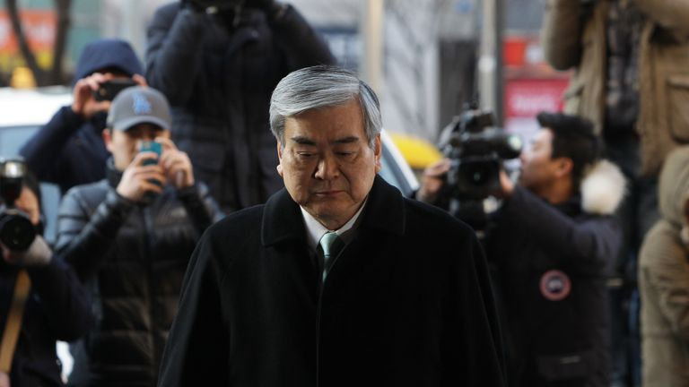 Cho Yang-Ho, Korean Air Chairman & CEO arrives at the Seoul Western District Court on January 30, 2015 in Seoul, South Korea. The chairman of Korean Air Lines Co. Cho Yang-ho appeared in court as a witness in the trial over his eldest daughter Cho Hyun-ah's alleged obstruction of aviation safety in the 'nut rage' incident