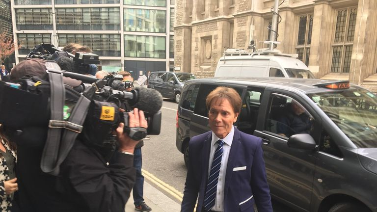 Sir Cliff Richard arrives for day four of his legal battle with the BBC