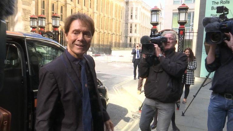Sir Cliff Richard arrives at court