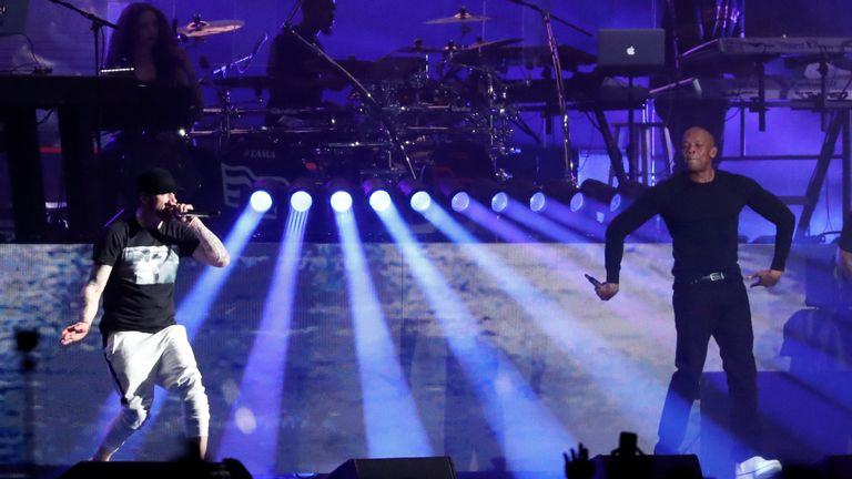 Eminem and Dr. Dre perform at the Coachella Valley Music and Arts Festival in Indio