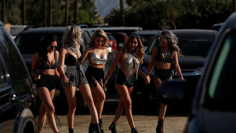 Concertgoers at the Coachella Valley Music and Arts Festival in Indio