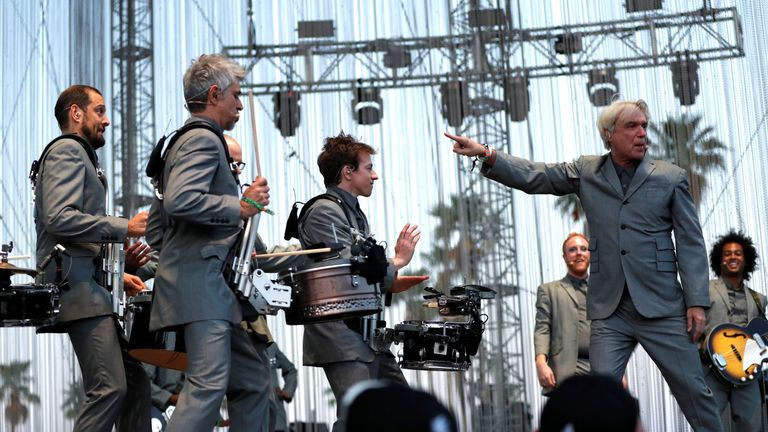 David Byrne performs at the Coachella Valley Music and Arts Festival in Indio