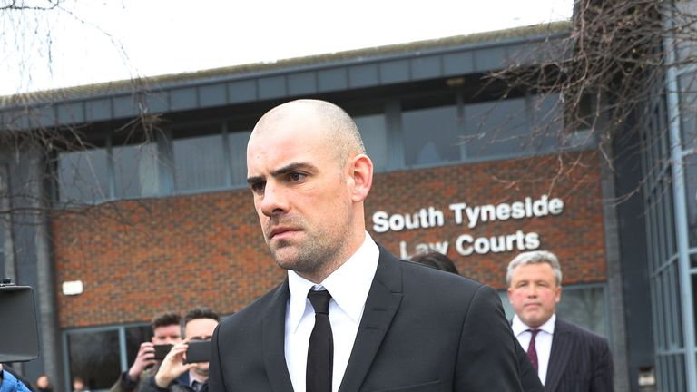 Darron Gibson leaving South Tyneside Magistrates' Court where he admitted drink-driving