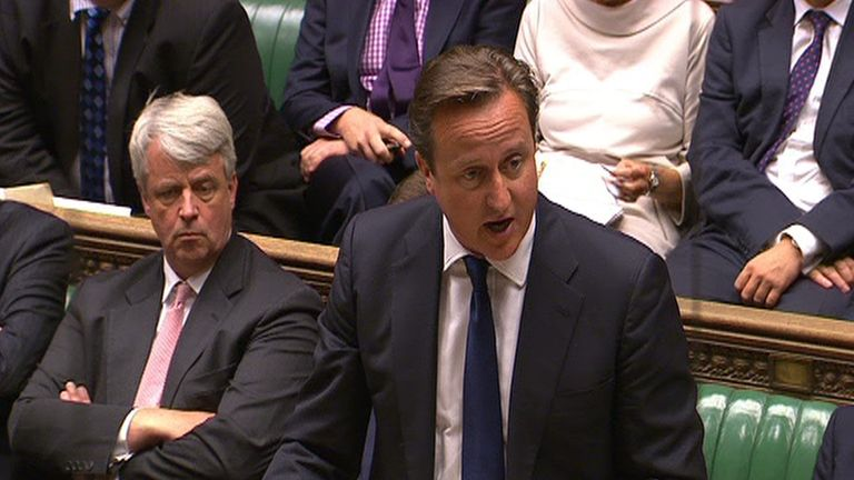 Prime Minister David Cameron speaks after he suffered a humiliating defeat after MPs rejected a motion on the principle that military action could be required to protect Syrian civilians, in the House of Commons, central London.