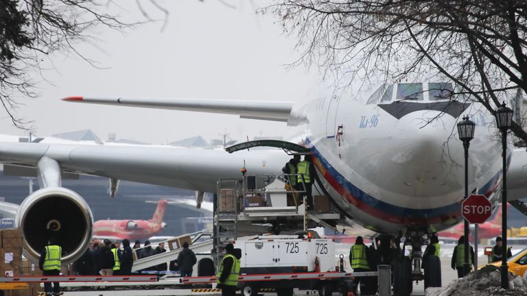 The Ilyushin Il-96 aircraft, transporting expelled Russian diplomats and their family members from the U.S., is seen shortly after landing at Vnukovo airport outside Moscow, Russia April 1, 2018. REUTERS/Maxim Shemetov