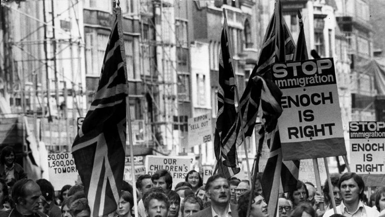 An anti-Asian demonstration in 1972 in favour of Enoch Powell's speech