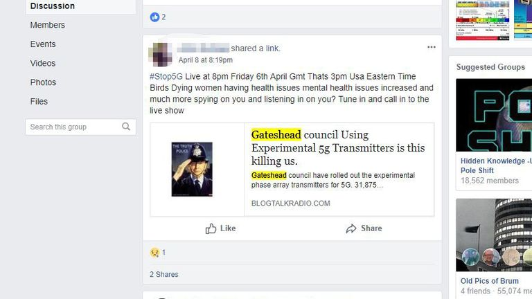 Another Facebook posted from a users highlighting what they say is the risk from the so-called transmitters