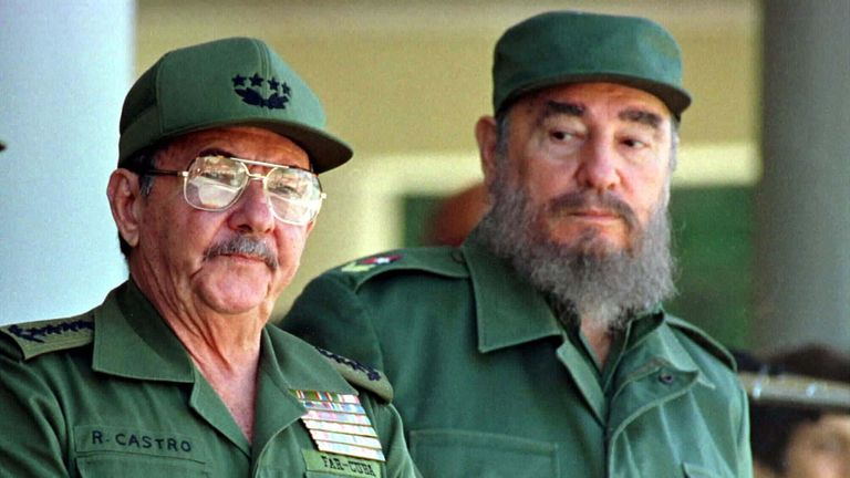 Raul and Fidel Castro marking the death of 19th Century Cuban independence hero Antonio Maceo in 1996
