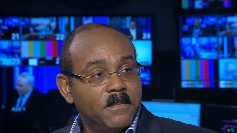 """Gaston Browne, the Prime Minister of Antigua and Barbuda, has told Sky News' All Out Politics that an apology from the Government over the Windrush issue """"would be welcome""""."""