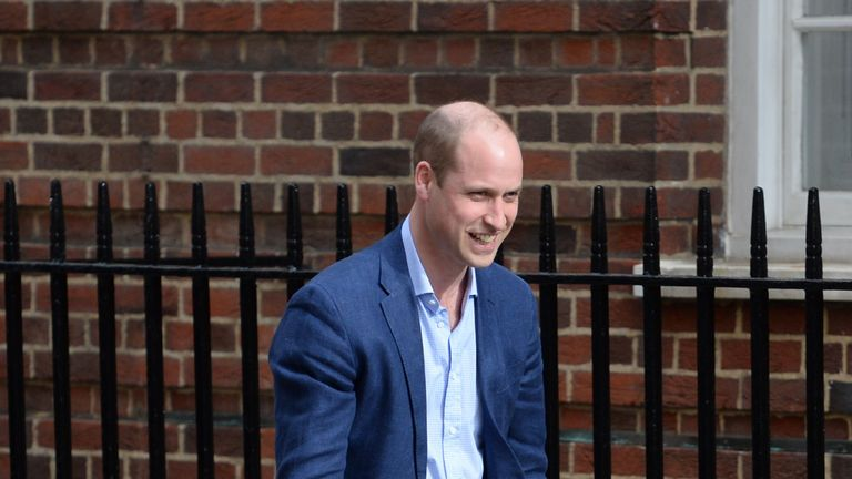 The Duke of Cambridge with Prince George and Princess Charlotte arriving at the Lindo Wing at St Mary's Hospital in Paddington