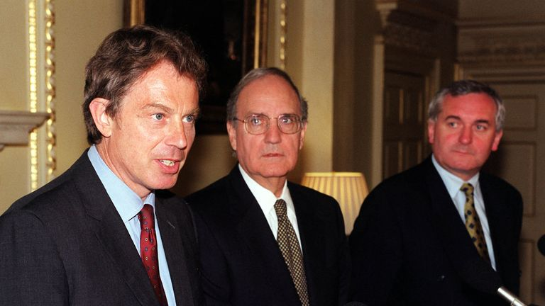 Tony Blair, George Mitchell and Bertie Ahern