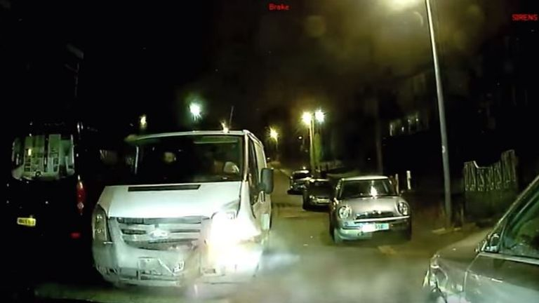 Dashcam footage shows the Transit van's smashed front and smoke billowing from the GMP Audi after the incident. Video: Greater Manchester Police.