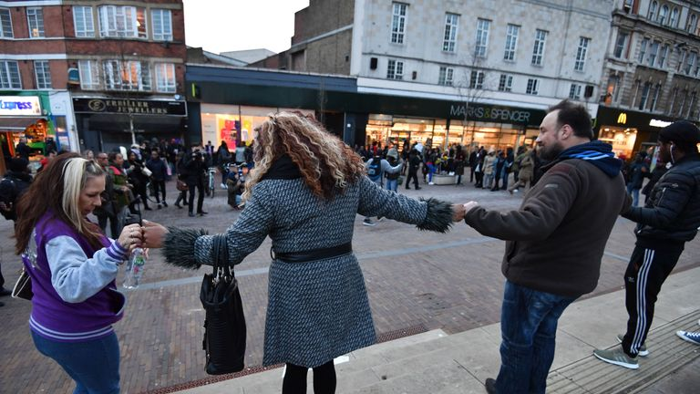 Members of the public took part in an anti-gang violence rally in Hackney
