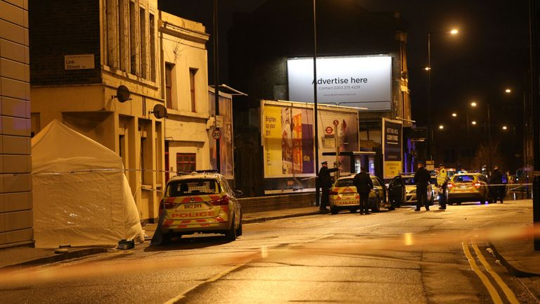 The victim died at the scene in Link Street, Hackney