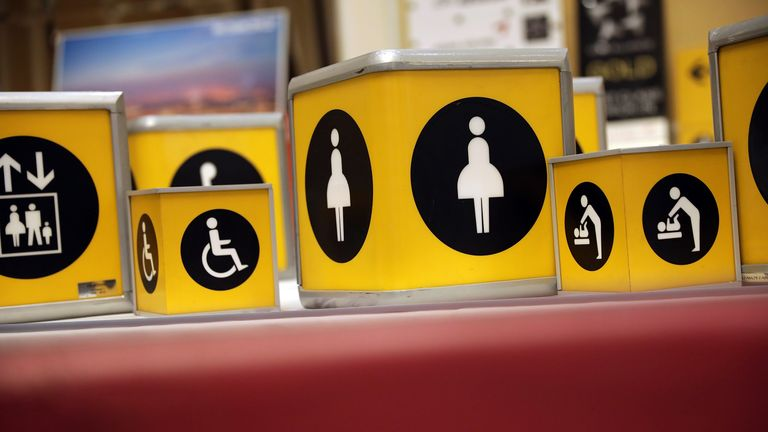 Toilet signs are among things for sale from Heathrow terminal one