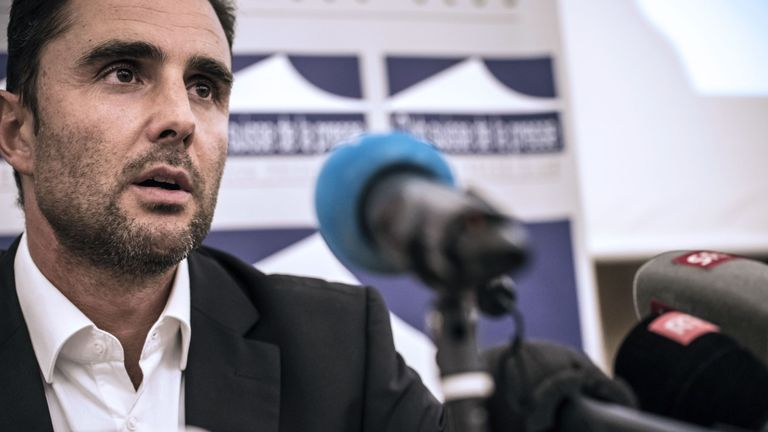 Herve Falciani, the former HSBC employee who leaked documents alleging the bank helped clients evade millions of dollars in taxes, gives a press conference in Divonne-les Bains on October 28, 2015