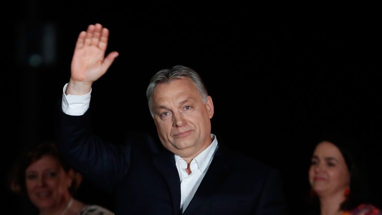 Victor Orban celebrates winning his fourth term as Hungary's prime minister