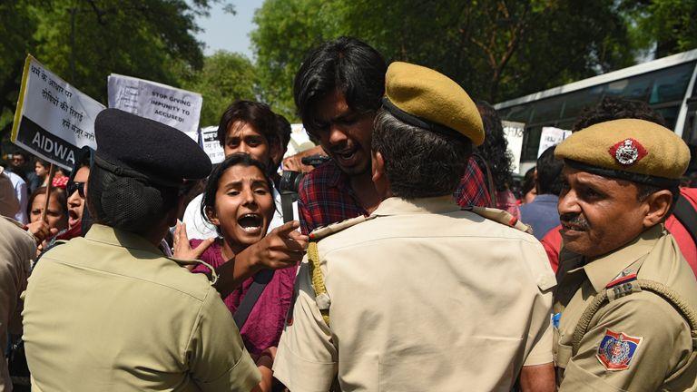 Demonstrators unite as minister Kuldeep Singh Sengar is questioned