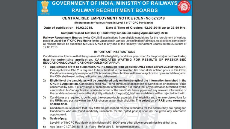 The application form for the latest recruitment round for Indian Railways