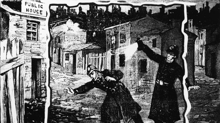 Illustration shows the police discovering the body of one of Jack the Ripper's victims, probably Catherine Eddowes, London, England, late September 1888