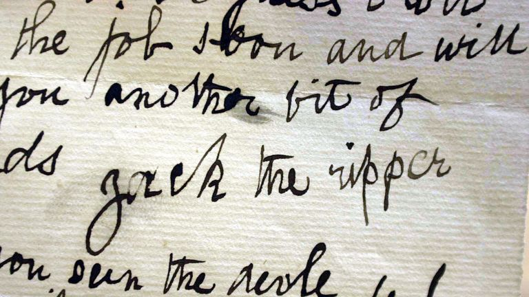 The signature on a letter dated 29 October 1888 written by a person claiming to be Jack the Ripper that was sent to Doctor Thomas Openshaw of the London Hospital Whitechapel. It will be on display at the Public Record Office.