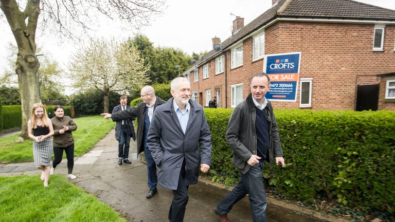 Labour leader Jeremy Corbyn canvassing in Grimsby ahead of the local elections