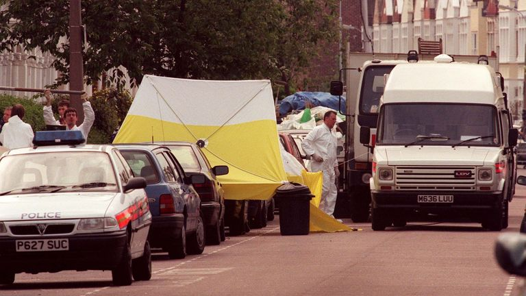 The scene outside Jill Dando's house in Fulham where her body was found