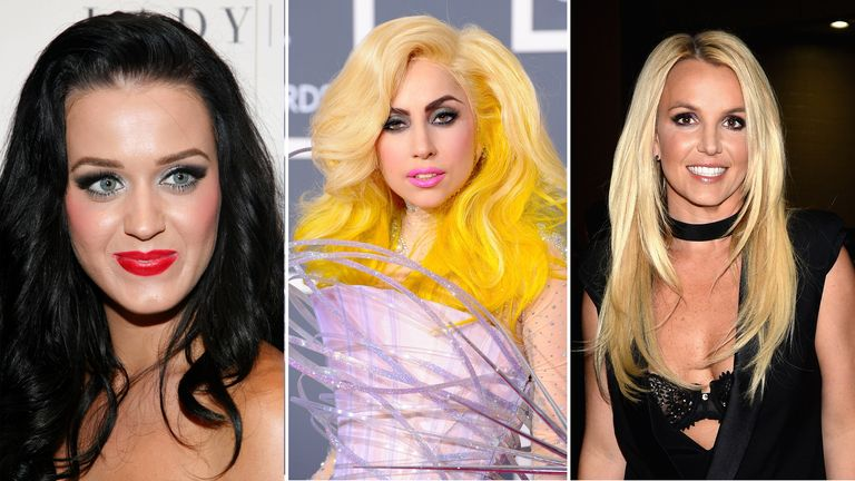 gaga, katy perry, britney, all from getty