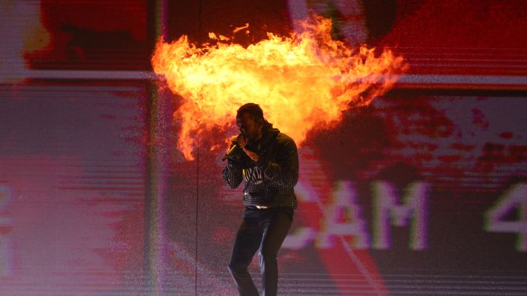 Kendrick Lamar performing at the Brit Awards in London in February