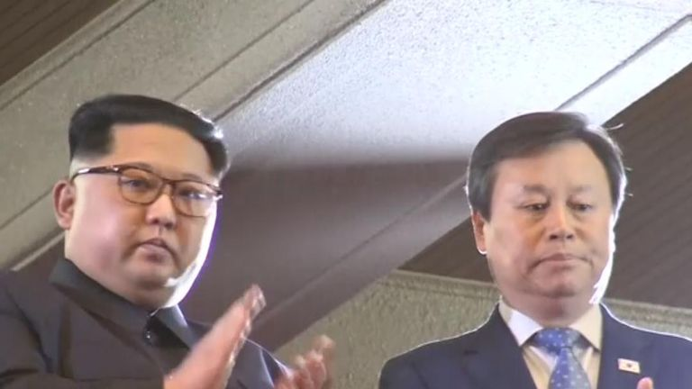 Km Jong Un watches a music concert by South Korean stars