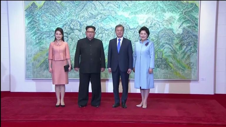 North Korean leader Kim Jong Un and first lady Ri Sol Ju, South Korean President Moon Jae-in and first lady Kim Jung-sook
