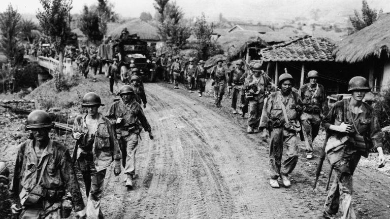 Battle-weary American troops withdraw from Yongsan in Seoul in 1950