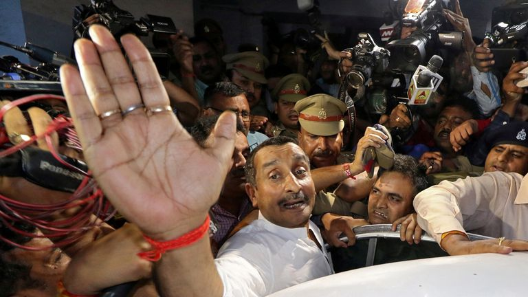 Kuldeep Singh Sengar leaves court after being arrested
