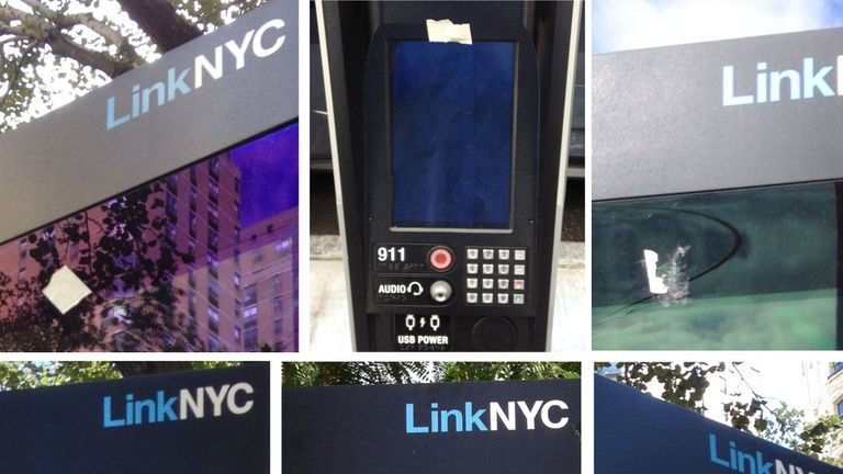 Protesters in New York covered the kiosks' built-in cameras. In the UK they're switched off at launch. Pic: Twitter / @_cryptome_