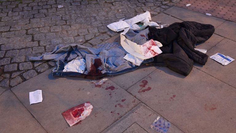 Bloodied clothes near the scene in Grove Road, Mile End