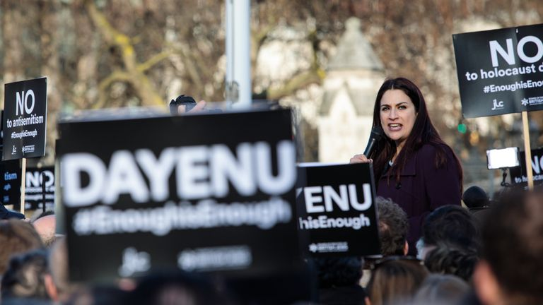MARCH 26: British Labour Co-operative politician Luciana Berger addresses the crowd during a demonstration in Parliament Square against anti-Semitism in the Labour Party on March 26, 2018 in London, England.