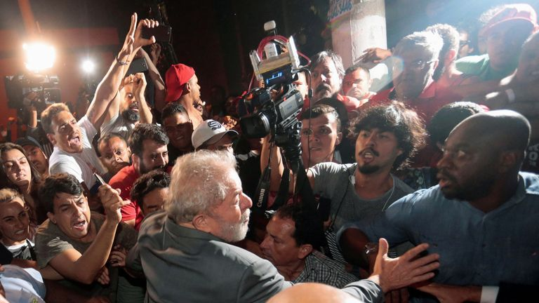 Luiz Inacio Lula da Silva leaves the steel workers union, in Sao Bernardo do Campo