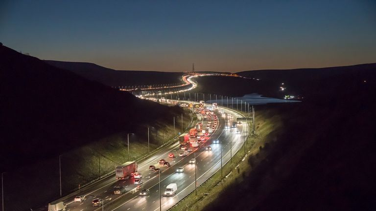 The accident happened on the M62 motorway. File pic