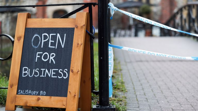 Police tape cordons off The Mill pub near to the Maltings in Salisbury, as police and members of the armed forces probe the suspected nerve agent attack on Russian double agent Sergei Skripal