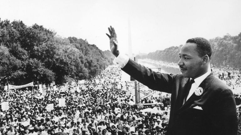 Martin Luther King addresses crowds amid his I Have A Dream speech during the March On Washington