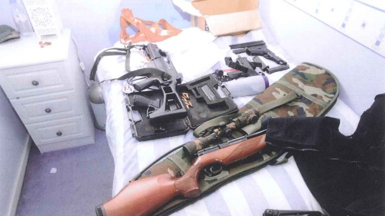 As well as three sub machine guns, Watt was found with two pistols and 1,500 live cartridges