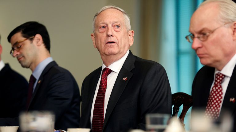 U.S. Secretary of Defense James Mattis speaks during a meeting with Qatari Emir Sheikh Tamim Bin Hamad Al-Thani at the Pentagon in Washington, U.S., April 9, 2018. REUTERS/Joshua Roberts