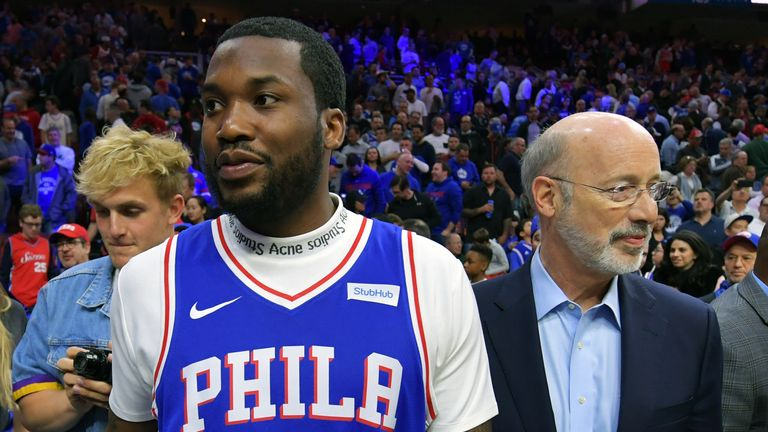 Meek Mill was at the NBA game in Philadelphia soon after leaving prison