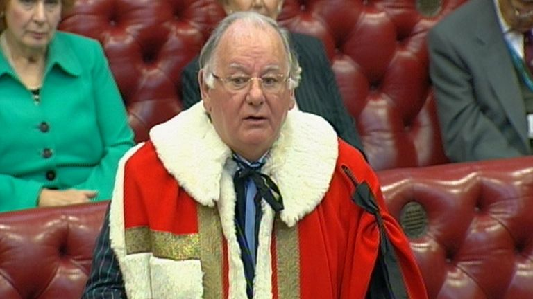 Former Speaker of The House of Commons, Lord Martin of Springburn is introduced to the House of Lords in Westminster, central London.
