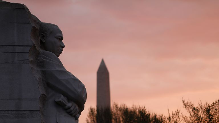 The Martin Luther King Jr. Memorial is seen before a silent march and rally on the National Mall to mark the 50th anniversary of the assassination of civil rights leader Rev. Martin Luther King Jr. in Washington, U.S., April 4, 2018. REUTERS/Eric Thayer