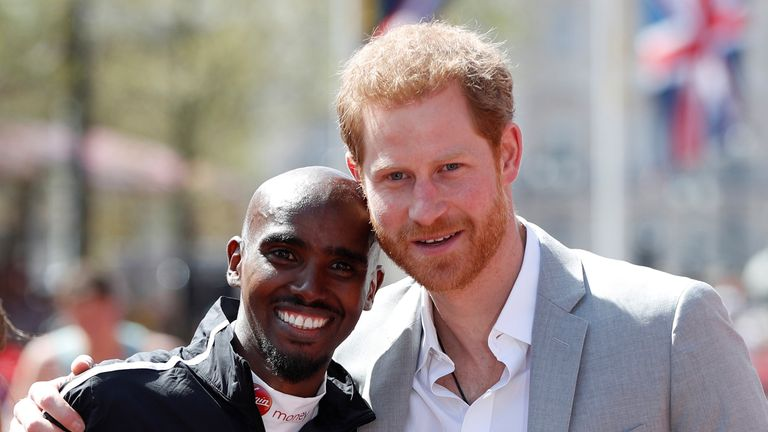 Sir Mo meets Prince Harry after his record-breaking run