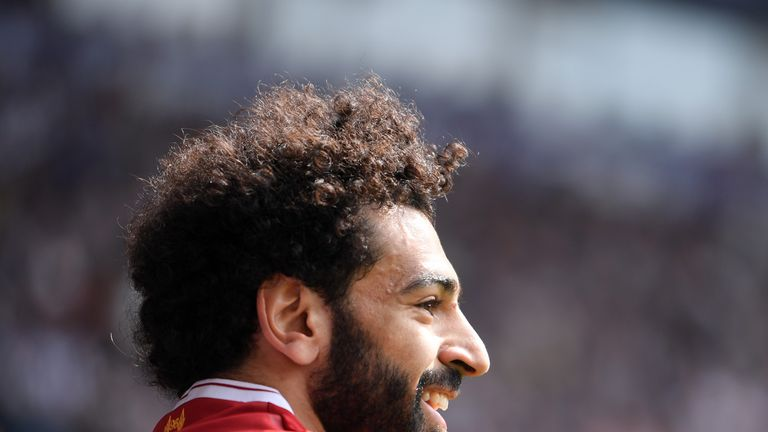 WEST BROMWICH, ENGLAND - APRIL 21: Mohamed Salah of Liverpool smiles during the Premier League match between West Bromwich Albion and Liverpool at The Hawthorns on April 21, 2018 in West Bromwich, England. (Photo by Laurence Griffiths/Getty Images)