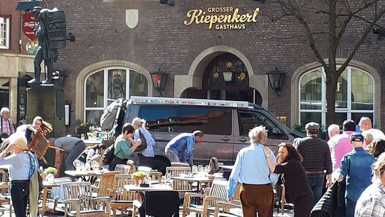 The grey VW van that crashed into a restaurant area in Munster, killing two people