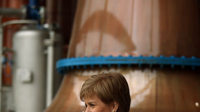 Nicola Sturgeon at the launch of the Dalmunach whisky distillery in 2015 on the Banks of the River Spey