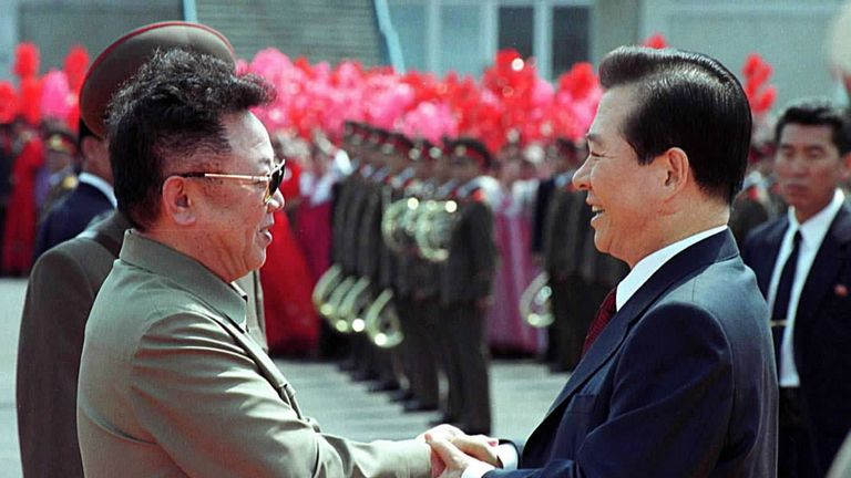First inter Korean summit: Kim Jong Il and South Korean President Kim Dae Jung, who won a Nobel Peace Prize for his work towards reconciliation